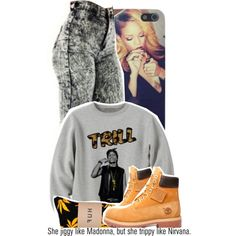 A fashion look from November 2013 featuring shirt top, high-waisted pants and huf socks. Browse and shop related looks. Tims Outfits, Timberland Outfits, Dope Outfits, Swag Outfits, Fashion Outfits, Dope Fashion, Fashion Killa, Womens Fashion, Girl Fashion