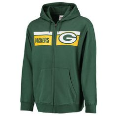 Majestic Green Bay Packers Green Touchback Full-Zip Hoodie Green Bay Packers 87a841d72