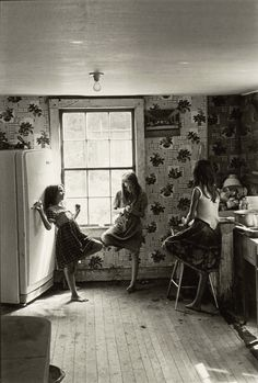 """William Gedney, """"Three Girls in Kitchen,"""" Kentucky, I've never seen anything that looks more like my sisters and I than this picture. Kentucky, Black White Photos, Black And White Photography, Old Pictures, Old Photos, Vintage Photographs, Vintage Photos, Three Sisters, Three Daughters"""