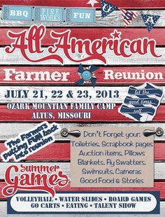 Family Reunion, Fourth of July picnic Invitation Printed or PDF Download