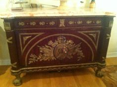 Found on EstateSales.NET: Louis the 15th-16th Style 2-Drawer, 2-Door Pink Marble Top with Gilt Bronze Decorations with Hairy Paw Feet (54