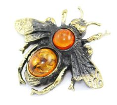 Amber Brooch Bee brooch Amber jewelry Insect bee pin for