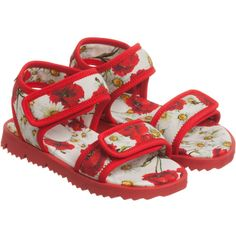 Dolce & Gabbana - Girls Red Poppy Floral Neoprene Sandals   Childrensalon