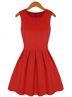 MFL moda vestido plisado (rojo)