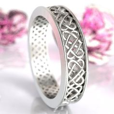Celtic Heart Ring, Sterling Silver Celtic Wedding Band,  Celtic Knot Ring, Unique Wedding Band, Custom Made in Your Size CR-1034