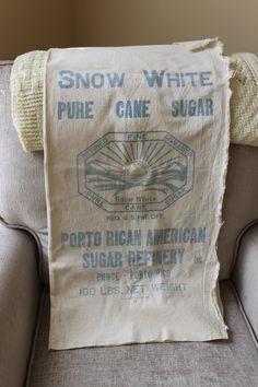 Vintage Linen Sugar Sack, Muslin Sugar Sack, Puerto Rico, Vintage Craft Fabric…
