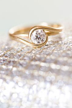 Gold & diamond engagement ring  Photo by Cassi Claire #prospectpark #picnichouse #wedding #brooklynphotographer #brooklynwedding