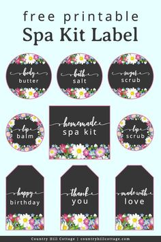 A DIY spa kit with free printable labels is perfect for a spa day at home and a quick and affordable homemade gift idea for mom and friends. Homemade Beauty Recipes, Easy Homemade Gifts, Diy Spa Tag, Body Butter, Shea Butter, Simple Diy, Easy Diy, Spa Day At Home, Gift Labels