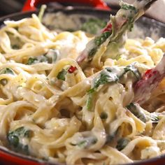 Food If you love spinach and artichoke dip, you need to try this creamy as hell fettuccine alfredo. The lemony cream cheese sauce is out of this world, and the baby spinach and baby artichokes add a much needed freshness. Get the recipe at . Sauce Recipes, Crockpot Recipes, Cooking Recipes, Pasta Recipes No Meat, Cheese Tortellini Recipes, Pasta Recipes Video, Penne Recipes, Best Pasta Dishes, Creamy Pasta Recipes