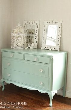 Dresser refinished in Benjamin Moore's Azores (Pottery Barn color) by Migonis Home Absolutely gorgeous! Love the glass knobs.