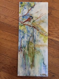 Alcohol ink on ceramic tile. Bird artwork painting by Mary Scott Blake.