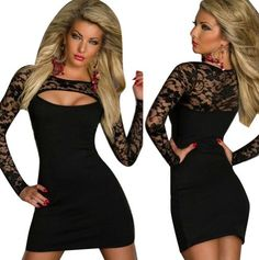 Women Lace Long Sleeve Sexy Cut Out Clubwear Party Cocktail Mini Dress Black ** Check out the image by visiting the link.