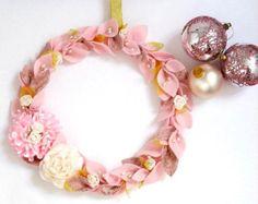 READY TO SHIP Mint Pink Felt Wreath Christmas home by InaSudjana