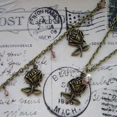 Rose necklace and bracelet set by CharlysGems on Etsy, £12.00 plus p&p