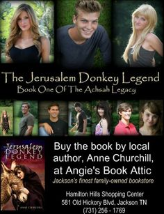 Local author Anne Churchill shares The Jerusalem Donkey Legend.  The legend tells us that the donkey that carried Jesus into Jerusalem on Palm Sunday also followed him to Calvary, for the donkey loved the Lord. Appalled by the sight of Jesus on the cross, the donkey turned away but could not leave. The shadow of the cross fell upon his shoulders and back, forever marking him and all of his descendants. Visit http://www.thejerusalemdonkeylegend.com/jdl/ to learn more.