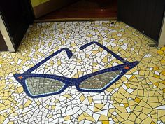 Eyeglass floor mosaic. Great for any optical office. #groovy #glasses #art