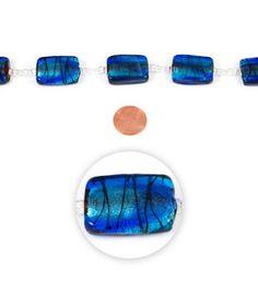 Blue Moon Strung Art Glass Beads,Flat Rectangle,Light & Dark Blue,Swirl: Strung: beads: jewelry & beading: crafts: Shop | Joann.com