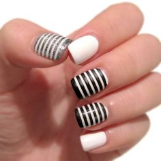 White Toenail Designs - Nails which are well cared for make a positive impression on your character. White Toenail Designs, Black And White Nail Designs, Black Nail Art, White Nail Polish, White Nails, Black White, Silver Nails, Black Nails, White Art