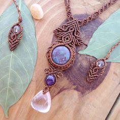 Jasper macrame necklace micro macrame quartz by SelinofosArt