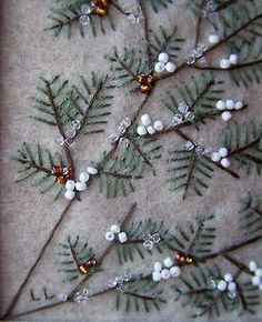 This embroidery pine needles and beads for Christmas