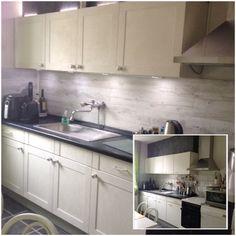 Gepimpte keuken.. Latjes mdf Annie Sloan krijtverf old white +2 wax Achterwand plaklaminaat Knopjes xenos