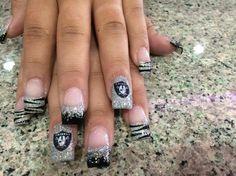 Raider black silver acrylic nails