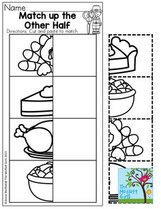 Match up the Other Half- Thanksgiving fun for preschool!  November NO PREP Packets are filled with hands-on activities to teach core concepts.
