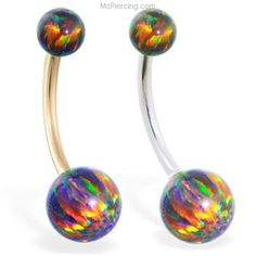 14K Real Gold Gorgeous Rainbow Opal Belly Ring on MsPiercing