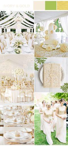 ivory, gold and greenery garden wedding ideas