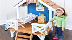 Camp Hangout for 18 or American Girl Dolls Ana White Bed Plans, Table Plans, Doll Crafts, Diy Doll, Sand Projects, Wood Lumber, Modern Outdoor Chairs, Pocket Hole Jig, Diy Garage Shelves