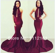 Inspired by Michael Costello Burgundy Mermaid Satin Evening Dresses Vestidos High Collar Sexy Deep V Neck Prom Party Dresses US $135.00