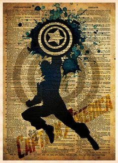 Avengers, Captain America, Vintage Silhouette print, Super Hero Art, Dictionary print art -  - 1