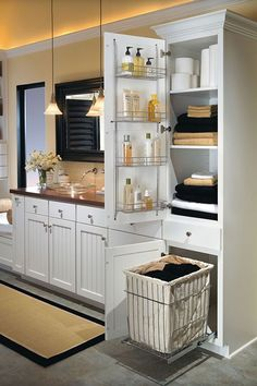 Want a cabinet in shower are for laundry baskets, towels, toiletries Bathroom Storage Ideas