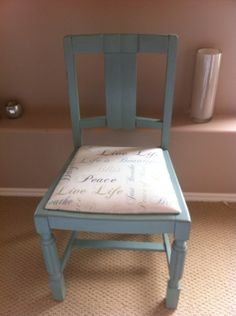Gorgeous little chair refinished in a soft duck egg blue and script fabric. #anniesloan #chalkpaint #upcycling