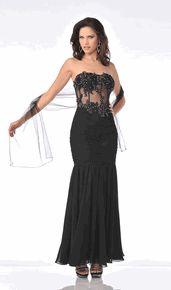 #5851C-Black Strapless Convertible Cocktail Evening Dress Boned Corsette (Size 4 to 16-3 Colors)