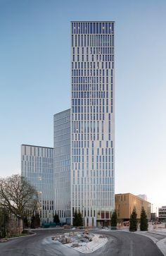 schmidt hammer lassen composes series of twisted towers for malmö cultural center
