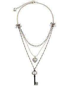 Betsey Johnson Ribbon and Crystal Key Necklace