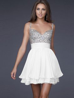 Sexy Short A-Line Style Sequined Bodice and Watermelon Chiffon Homecoming Dresses