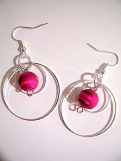 boucles d'oreille double ronds argentés et perles rondes roses