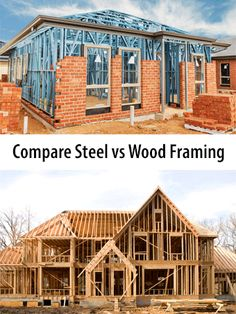 Compare 2020 Average Steel vs Wood House Framing Costs - Pros versus Cons of Steel and Wood House Framing - Price Comparison Wood Frame House, Steel Frame House, Steel House, Metal Building Homes, Building Plans, Building A House, Steel Frame Home Kits, Steel Structure Buildings, Wood Frame Construction