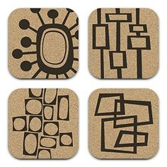 Mid Century Modern Retro Abstract Cork Drink Coaster Gift Set of *** More info could be found at the image url. (This is an affiliate link) Mid Century Modern Art, Mid Century Art, Mid Century Design, Modern Shower Curtains, Arte Tribal, Stamp Carving, Gelli Printing, Cork Coasters, Zentangle Patterns