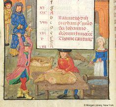 MS S.07, fol. 012v_Month, Occupation (December)_Belgium_1490c_Pierpont Morgan Library