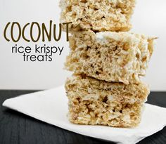 These coconut rice krispy treats are my favorite! I could eat the whole pan by myself. They are such a simple treat that everyone will love.
