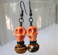 Orange Is The New Black Skull Earrings for Day Of The Dead and Halloween by AGreenWoods on Etsy