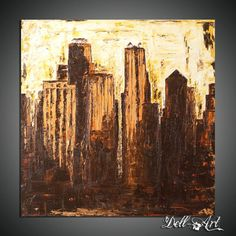 Chicago Abstract Painting  Title: City Lights   Oil on canvas   Dated and Signed  By Dell