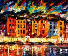 Leonid Afremov Portofino,liguria, Italy oil painting reproductions for sale