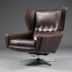 Anonymous; Leather and Polished Steel Lounge Chair by Dansk Mobler, 1960s.