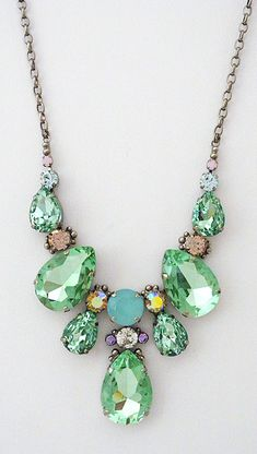 A favorite has returned! Mint crystal statement necklace is back in stock! At least for now. Large teardrop crystal statement necklace is mint julep teardrops & pastels. Get ready for The Derby. Crystal Statement Necklace, Statement Jewelry, Beaded Necklace, Mint Necklace, Teardrop Necklace, Jewelry Sets, Jewelry Accessories, Jewelry Design, Jewelry Making