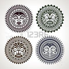 Set di tatuaggio in stile polinesiano maschere, vettore, illustrazione photo