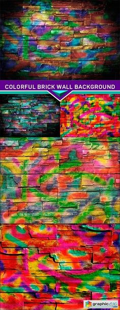 Colorful brick wall background 5x JPEG  stock images